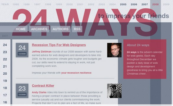 Screenshot of the 24 Ways website