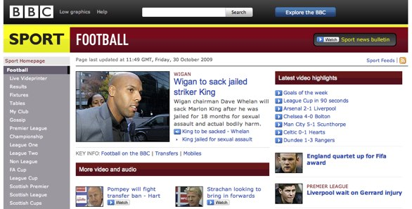 BBC Football website