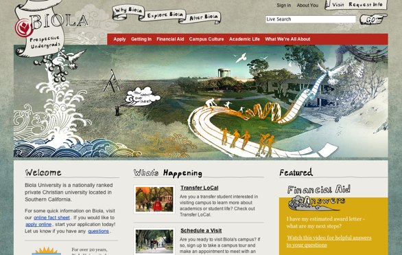 Screenshot of Biola Undergraduate website