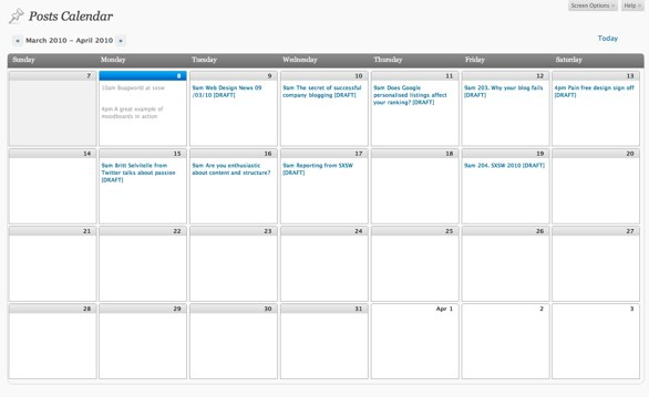 Calendar Plugin for WordPress