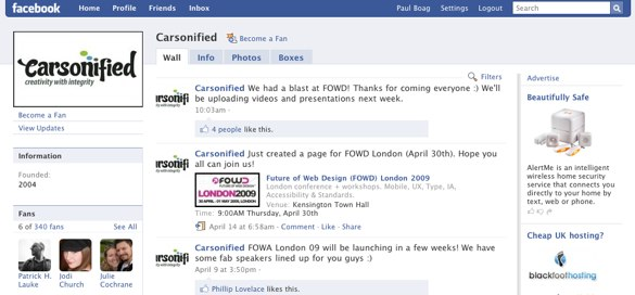Carsonified Fan Page on Facebook