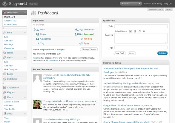 Wordpress Admin Screenshot