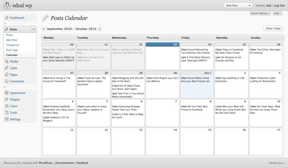WordPress editorial calendar plug-in