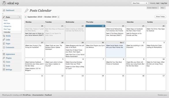 WordPress editorial calendar plug-in