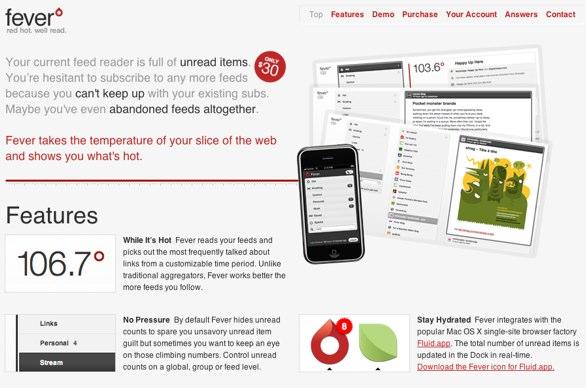Screenshot of the Fever Website