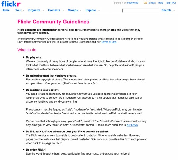 Flickr community guidelines