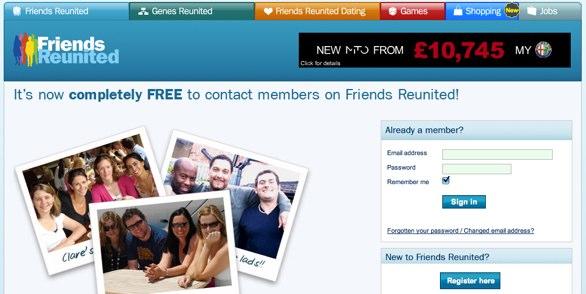 Friends Reunited Homepage