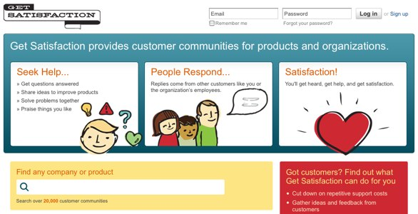 A screenshot of GetSatisfaction.com