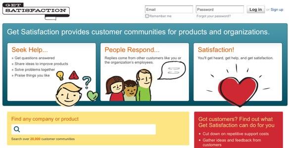 A screenshot of GetSatisfaction.com