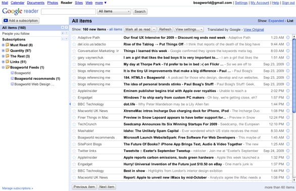 Screenshot of Google Reader