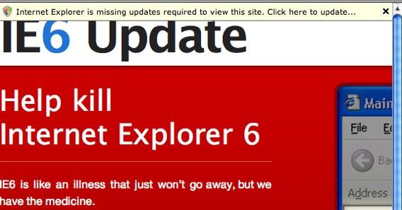 Screenshot of the IE6Update bar
