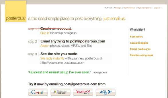 Posterous Screenshot
