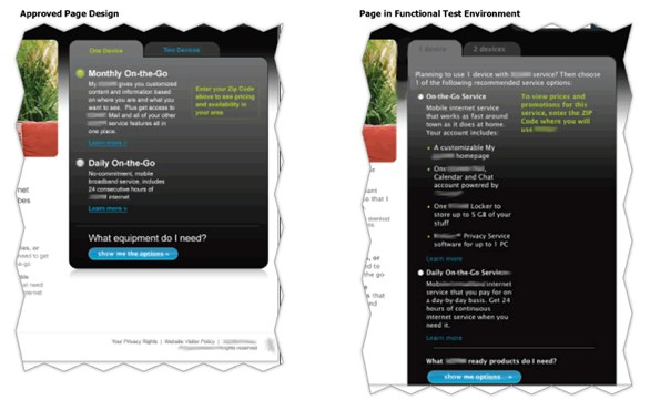 A comparison between an approved page design and the final page live on the website