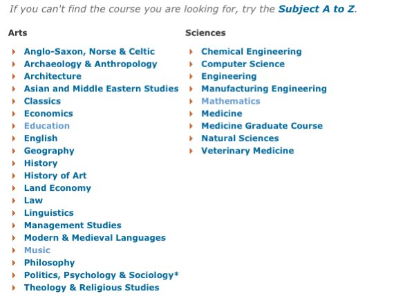 Example Course Finder Page