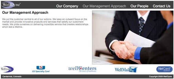 The WellDyne website features a photograph of two businessmen shaking hands