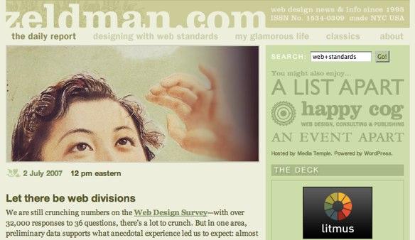 Screenshot of Zeldman's website