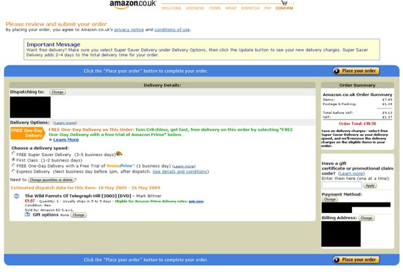 Screen capture of Amazon checkout