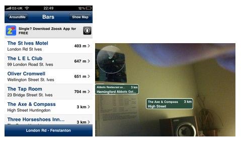 Screenshots of the Aroundme app