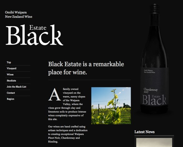 An example of a black background website with high contrast text