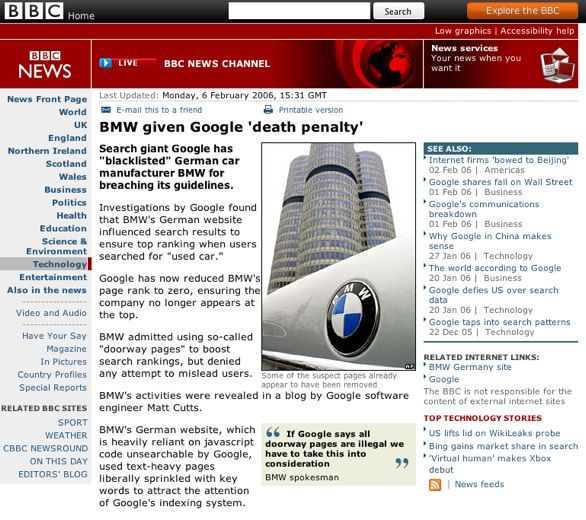 The BBC report on Google's decision to block BMW