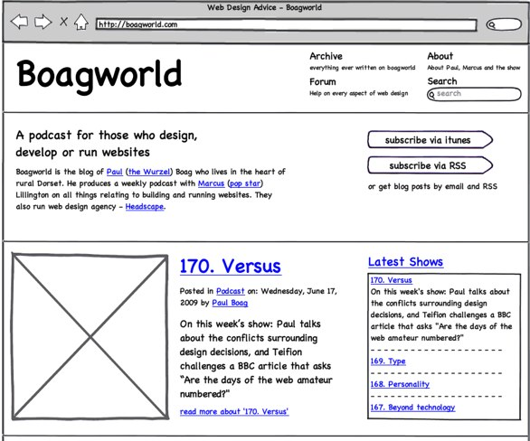 An example of a Balsamiq Wireframe