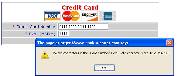 A checkout form that requires users to enter a credit card number without spaces or dashes.
