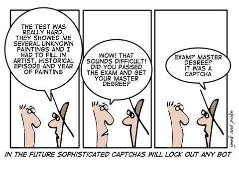 Cartoon highlighting how hard CAPTCHA is.