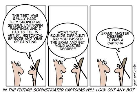 Cartoon highlighting how hard CAPTCHA is.