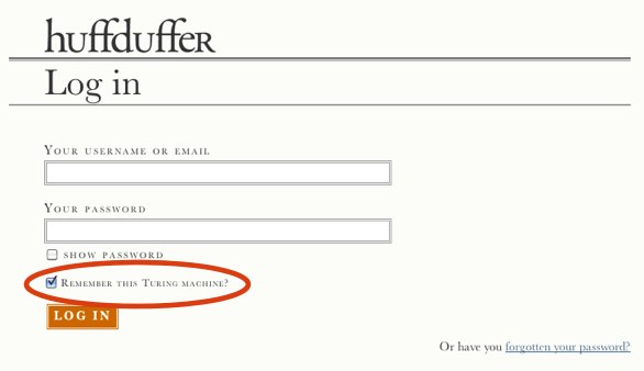 An example of a login form that has remember me checked by default