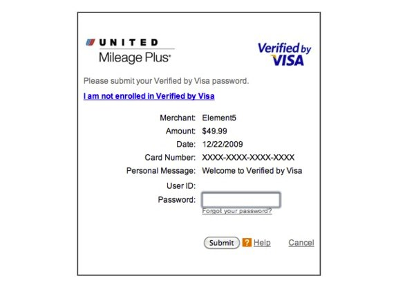 Verified by Visa example form