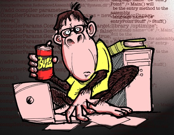Illustration of a code monkey