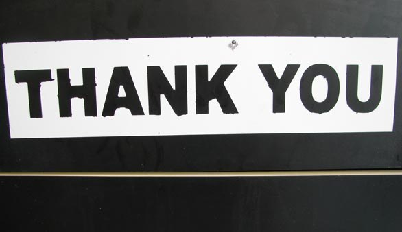 Sign saying thankyou