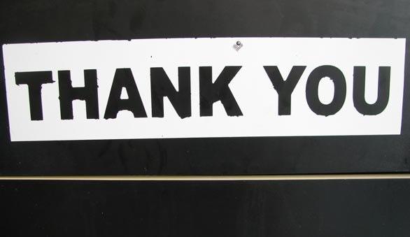 Sign saying thankyou