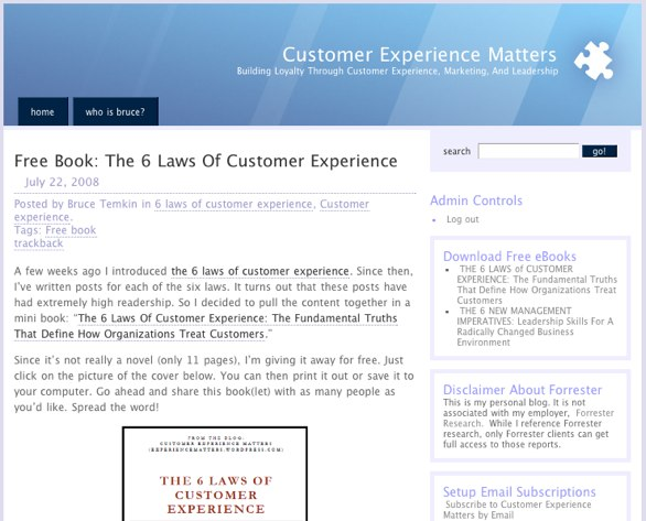 Screenshot from Customer Service Matters