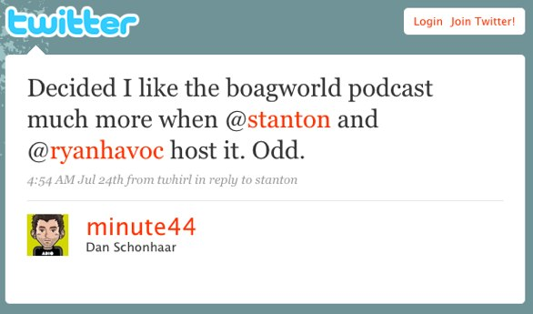 Twitter post: Decided I like the boagworld podcast much more when @stanton and @ryanhavoc host it. Odd.