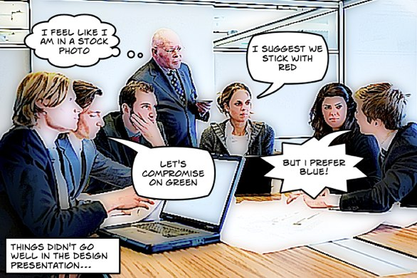 Design committee arguing over colour