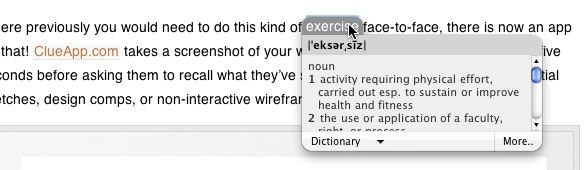 dictionary tooltip in OSX