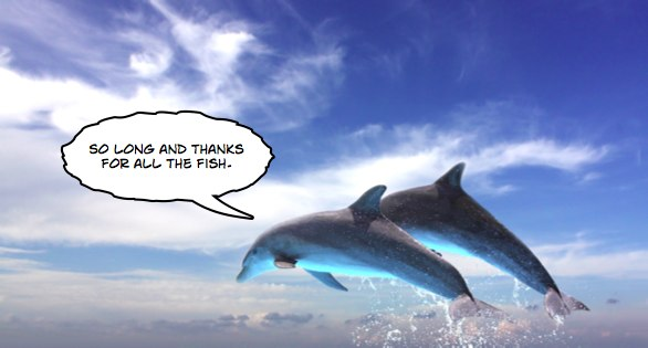 Dolphins saying 'So long and thanks for all the fish'