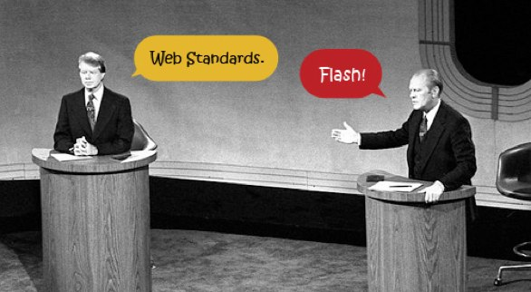 Presidential debate with speech bubbles saying flash and web standards