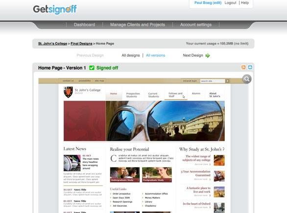 Screenshot from GetSignoff