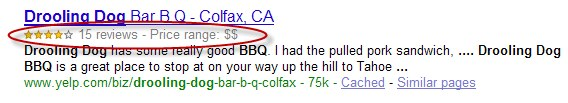 An example Google search result including a review