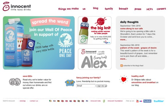 Innocent Smoothies website