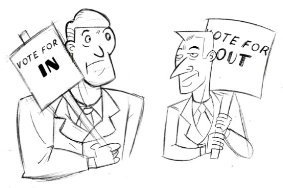 Illustration of two people holding placards. One reads 'Vote for IN' the other reads 'Vote for OUT'