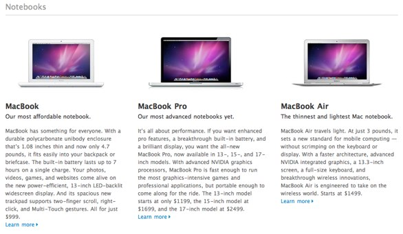 Screen capture from the Apple website