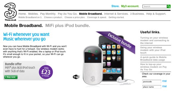 MiFi on the three.co.uk website