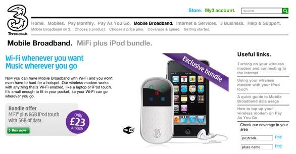 MiFi on the three.co.uk website