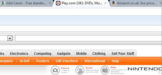 Screenshot showing tabbed browsing