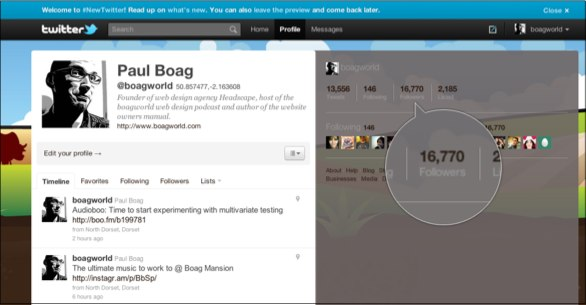 A screenshot of my twitter page highlighting my followers