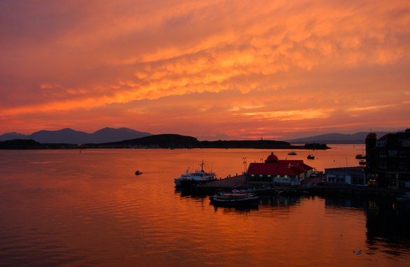 View from my window in Oban at Sunset