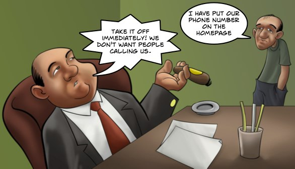Cartoon in which the web designer is asked to remove the phone number from a site